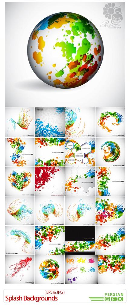 دانلود تصاویر وکتور پس زمینه اسپلش یا رنگ های پخش شده - Splash Backgrounds