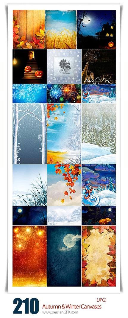 دانلود مجموعه تصاویر با کیفیت پس زمینه های پاییزی و زمستانی - Autumn And Winter Canvases Backgrounds