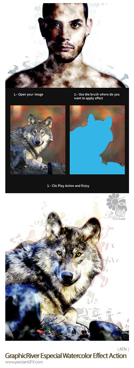دانلود اکشن فتوشاپ ایجاد افکت آبرنگی ویژه بر روی تصاویر از گرافیک ریور - GraphicRiver Especial Watercolor Effect Action