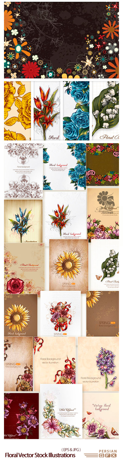 دانلود تصاویر وکتور پس زمینه های تزئینی گلدار - Floral Vector Stock Illustrations Bundle