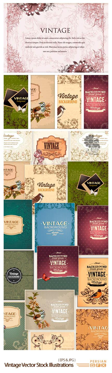 دانلود تصاویر وکتور قاب و حاشیه های قدیمی و تزئینی قدیمی - Vintage Vector Stock Illustrations Bundle