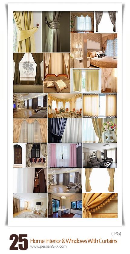 دانلود تصاویر با کیفیت طراحی داخلی خانه و پنجره با پرده - Home Interior And Windows With Curtains Stock Images