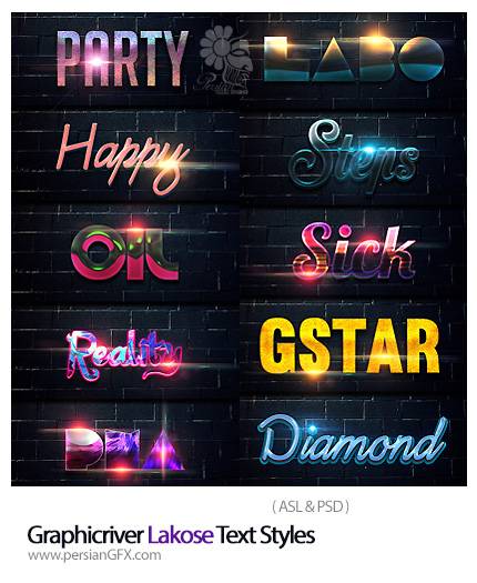 دانلود استایل با افکت های متنوع متن از گرافیک ریور - Graphicriver Lakose Text Styles
