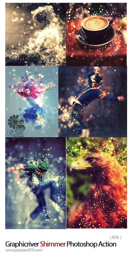 دانلود اکشن فتوشاپ ایجاد افکت سوسوی ذرات درخشان بر روی تصاویر از گرافیک ریور - Graphicriver Shimmer Photoshop Action