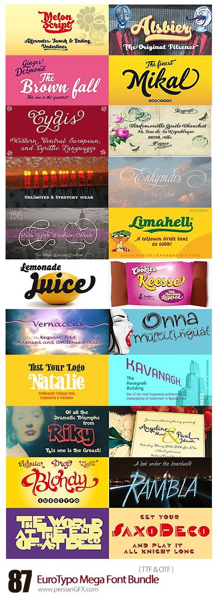دانلود مجموعه فونت های لاتین متنوع - EuroTypo Mega Font Bundle