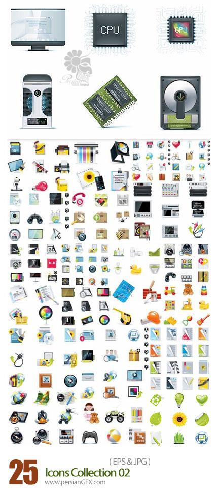دانلود مجموعه تصاویر وکتور آیکون های متنوع - Icons Collection 02