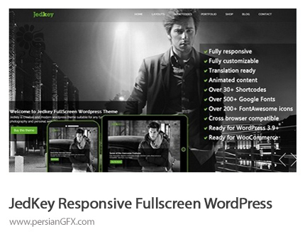 دانلود قالب و تم های آماده وب - Mojo Themes JEDKEY Responsive Fullscreen WordPress Theme