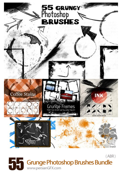 دانلود 55 براش فتوشاپ گرانج - 55 Grunge Photoshop Brushes Bundle