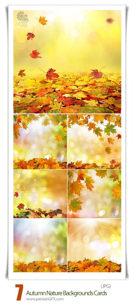 دانلود تصاویر با کیفیت فریم با پس زمینه پاییزی - Autumn Nature Backgrounds Cards