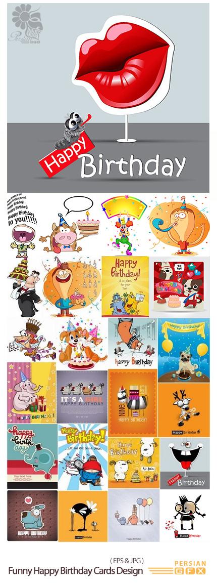 دانلود تصاویر وکتور طرح های فانتزی کارت تولد - Funny Happy Birthday Cards Design In Vector From Stock