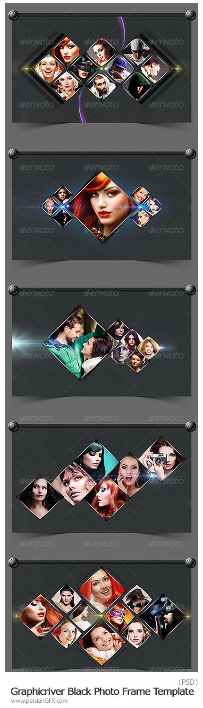 دانلود تصاویر لایه باز قالب آماده فریم های لوزی تیره برای تصاویر از گرافیک ریور - Graphicriver Black Photo Frame Template