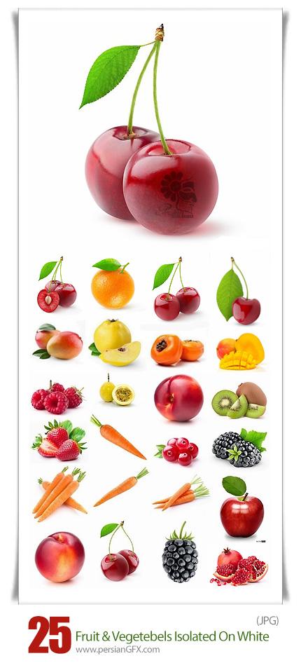 دانلود تصاویر با کیفیت میوه و سبزیجات در پس زمینه سفید - Fruit And Vegetables Isolated On White