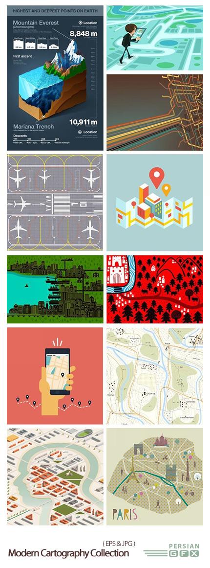 دانلود تصاویر وکتور نقشه نگاری های مدرن - Modern Cartography Collection