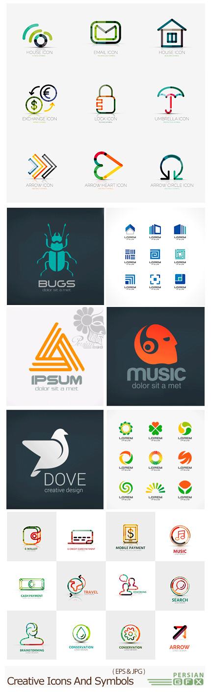 دانلود تصاویر وکتور آرم و لوگوی خلاقانه از شاتر استوک - Amazing Shutterstock Creative Icons And Symbols