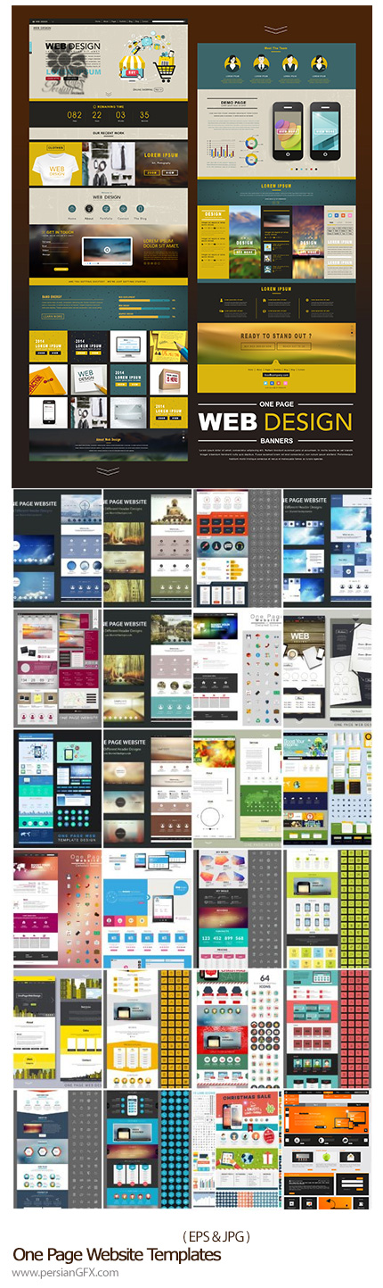 دانلود تصاویر وکتور قالب های آماده وب - One Page Website Templates