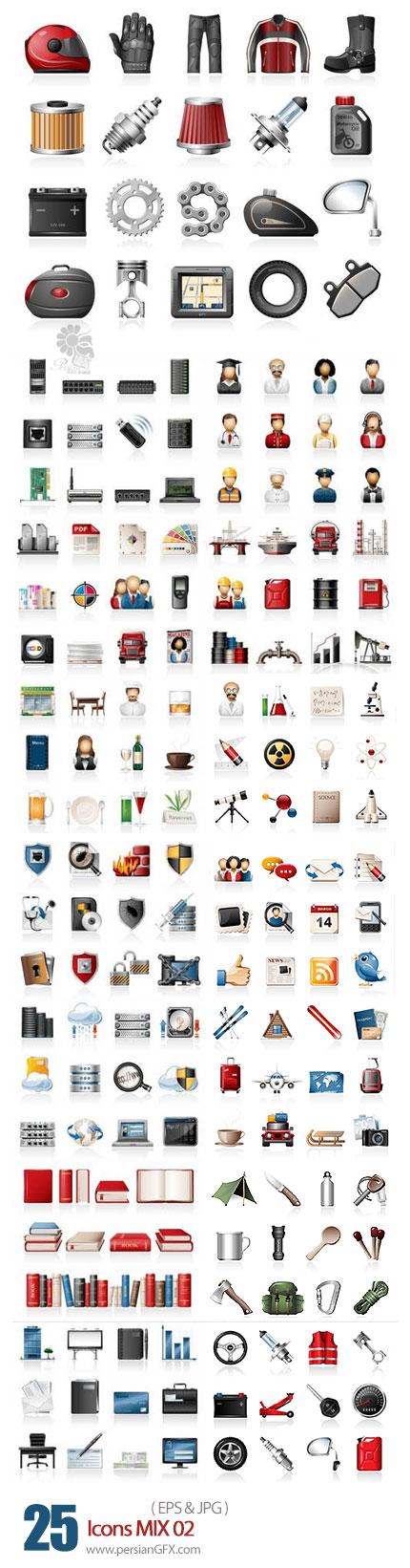 دانلود مجموعه تصاویر وکتور آیکون های متنوع - Icons MIX 02