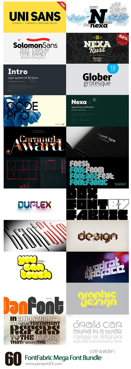 دانلود مجموعه فونت های لاتین متنوع - FontFabric Mega Font Bundle
