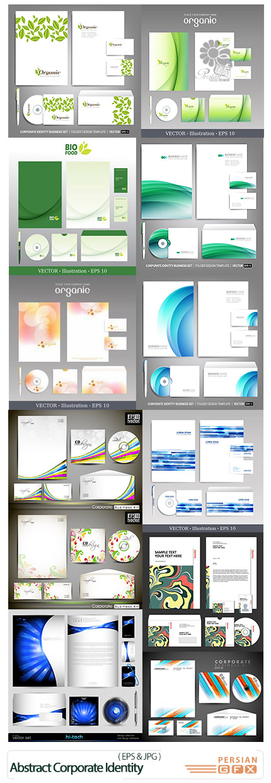 دانلود مجموعه تصاویر وکتور ست اداری کارت ویزیت، سربرگ، پاکت انتزاعی - Abstract Corporate Identity Business Template
