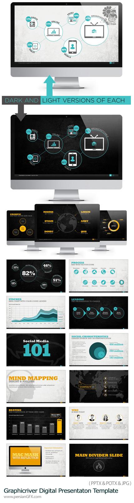 دانلود مجموعه قالب های آماده تجاری دیجیتالی پاورپوینت از گرافیک ریور - Graphicriver Premium Digital Presentaton Template