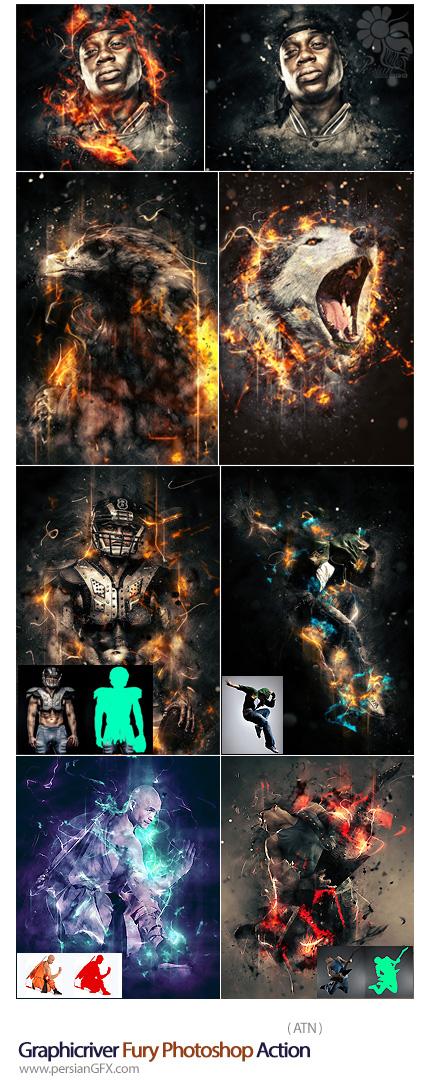 دانلود اکشن فتوشاپ ایجاد افکت های انتزاعی خشم بر روی تصاویر از گرافیک ریور - Graphicriver Fury Photoshop Action