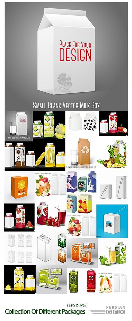 دانلود تصاویر وکتور پکیج یا بسته بندی آبمیوه و شیر - Collection Of Different Packages