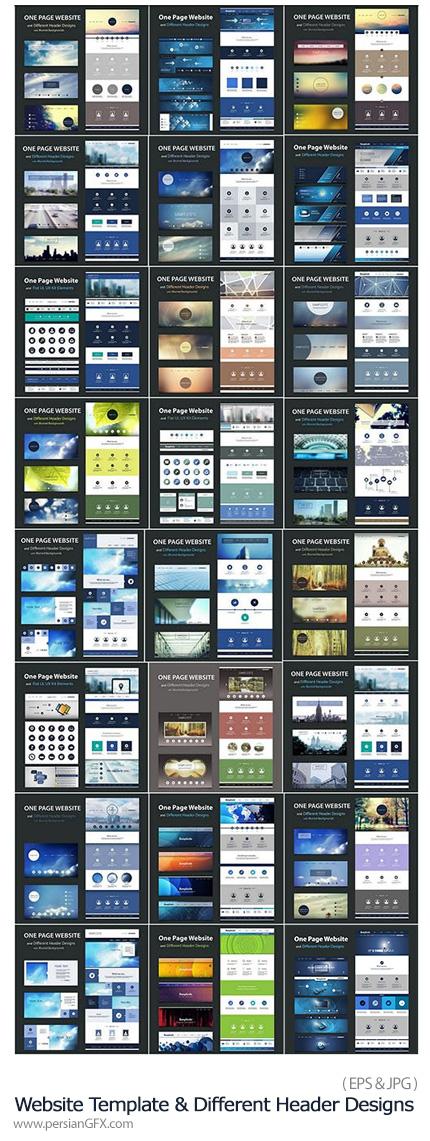 دانلود تصاویر وکتور قالب های آماده وب و سرصفحه های متنوع از شاتر استوک - Amazing SS Website Template And Different Header Designs