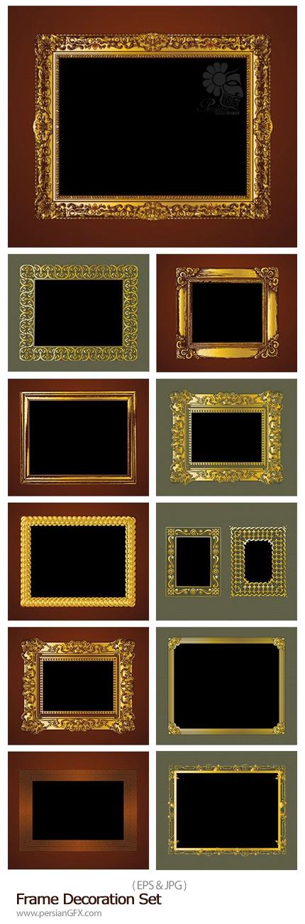 دانلود تصاویر وکتور فریم های تزئینی متنوع - Frame Decoration Set
