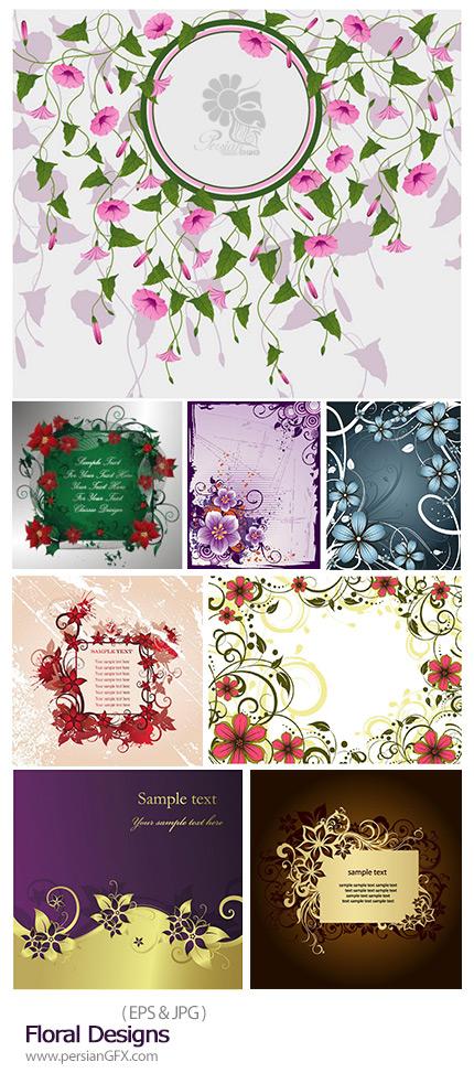 دانلود تصاویر وکتور فریم های گلدار تزئینی - Floral Designs
