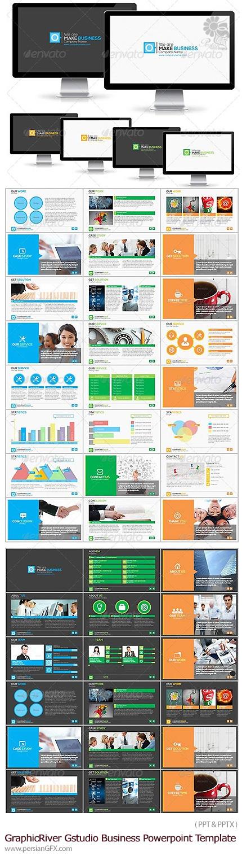 دانلود مجموعه قالب های آماده تجاری پاورپوینت از گرافیک ریور - GraphicRiver Gstudio Business Powerpoint Template