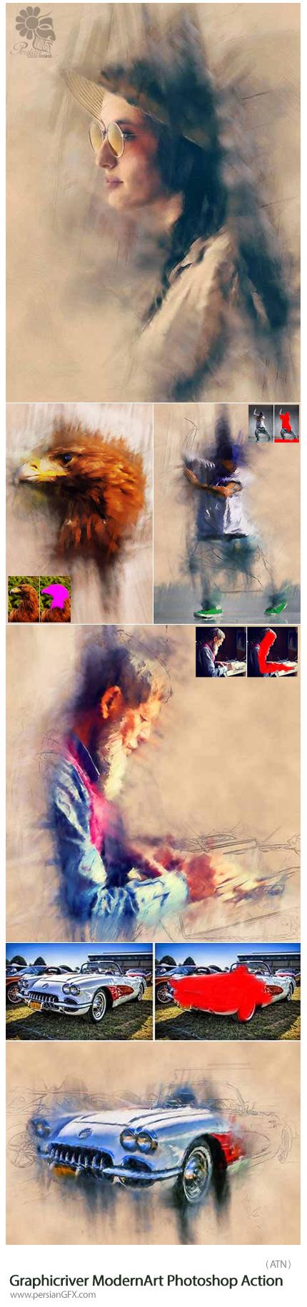 دانلود اکشن ایجاد افکت نقاشی آبرنگی از گرافیک ریور - Graphicriver ModernArt Photoshop Action