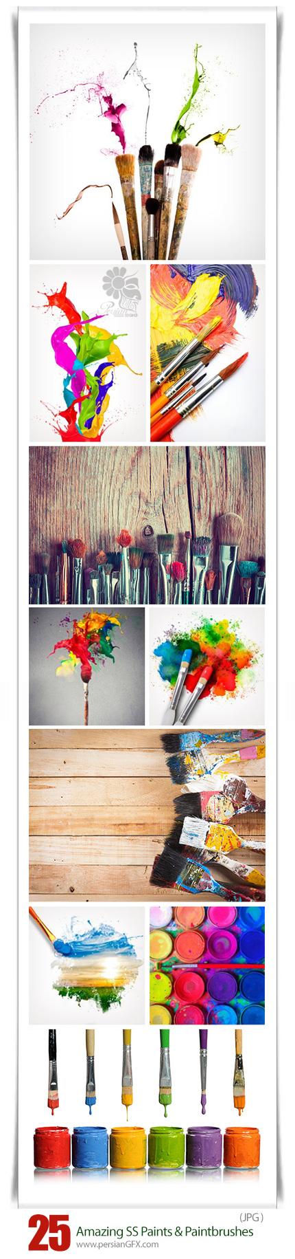 دانلود مجموعه تصاویر با کیفیت رنگ و قلم رنگ نقاشی از شاتراستوک - Amazing ShutterStock Paints And Paintbrushes