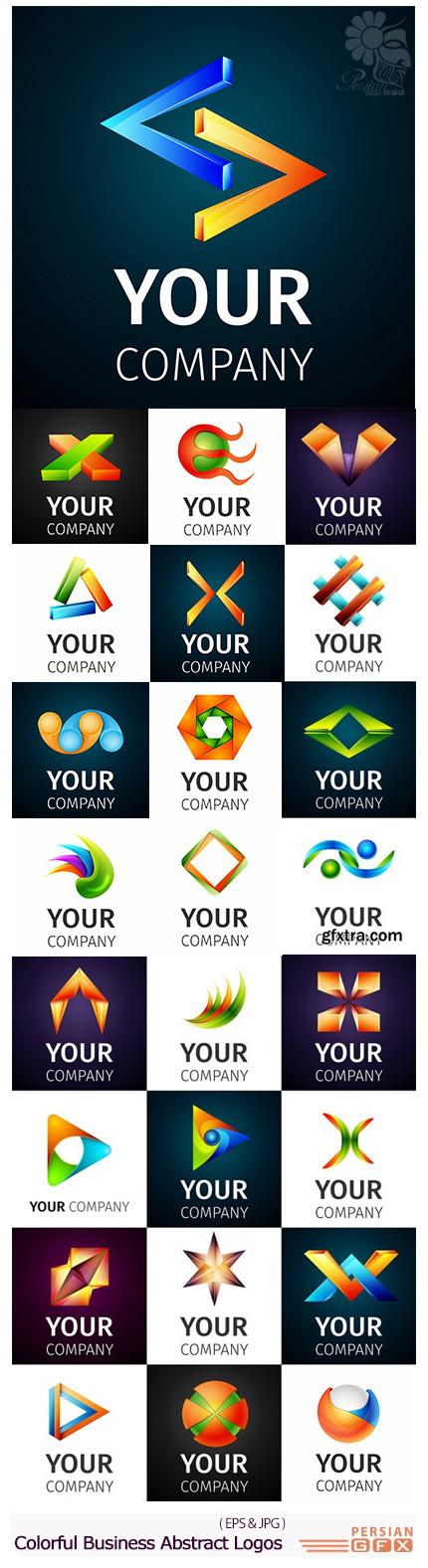 دانلود تصاویر وکتور آرم و لوگوی تجاری با طرح های انتزاعی - Stock Vector Colorful Business Abstract Logos