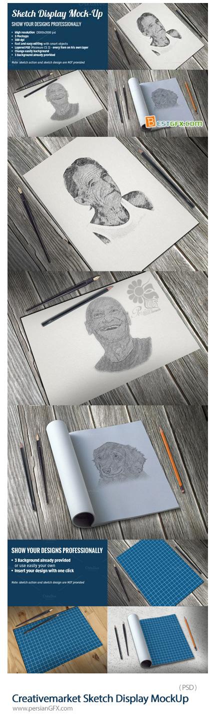 دانلود تصاویر لایه باز قالب پیش نمایش یا موکاپ دفتر طراحی - Creativemarket Sketch Display MockUp