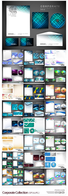 دانلود تصاویر وکتور قالب آماده کارت ویزیت و ست اداری از شاتر استوک - Corporate Collection