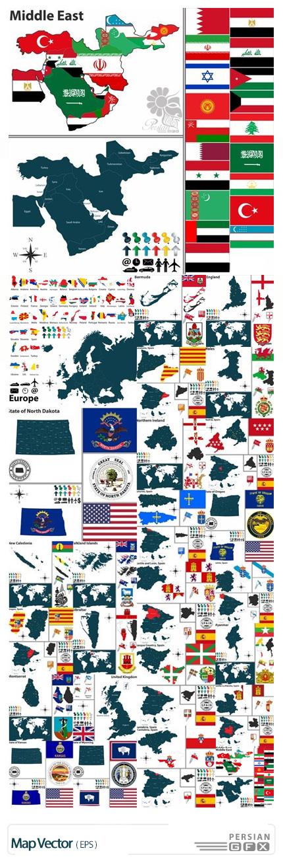 دانلود تصاویر وکتور نقشه و پرچم کشورهای مختلف - Map Vector
