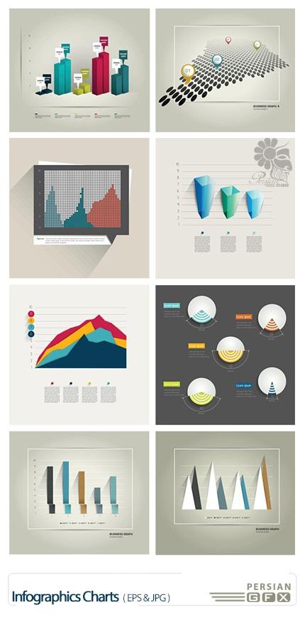 دانلود تصاویر وکتور نمودار های اینفوگرافیکی متنوع - Infographics Charts