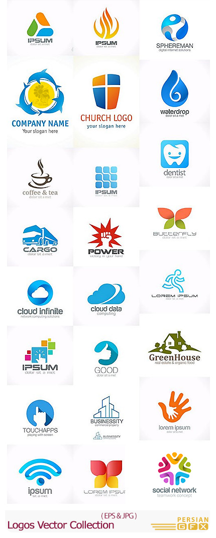 دانلود تصاویر وکتور آرم و لوگوی متنوع - Logos Vector Collection
