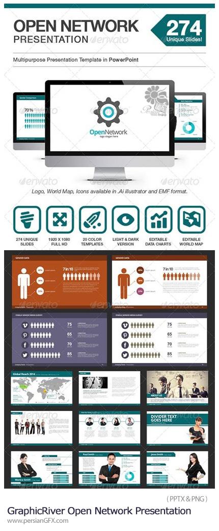 دانلود مجموعه قالب های آماده تجاری پاورپوینت از گرافیک ریور - GraphicRiver Open Network Presentation PowerPoint Templat