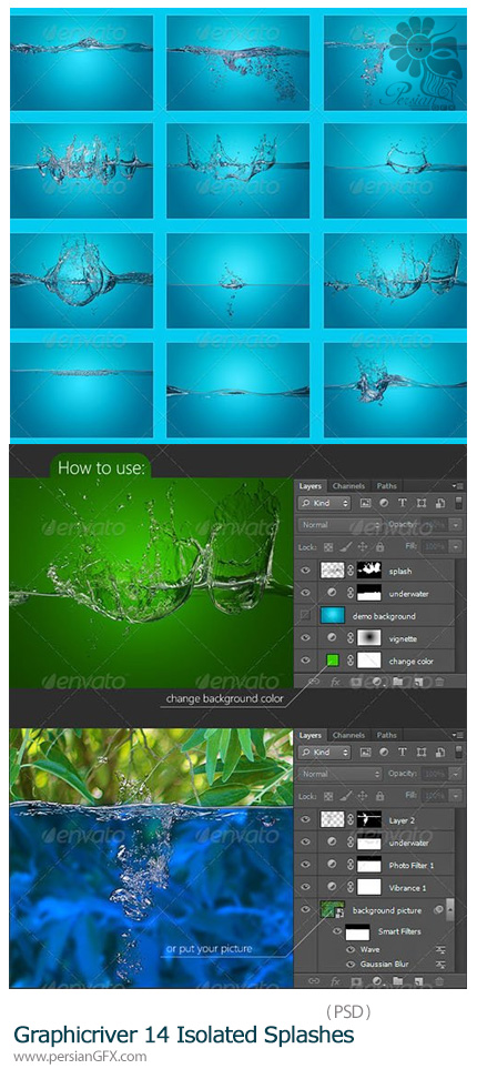 دانلود تصاویر لایه باز آب پاشیده شده از گرافیک ریور - Graphicriver 14 Isolated Splashes