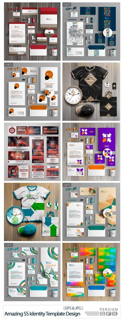 دانلود تصاویر وکتور ست اداری، تی شرت، کلاه، کیف دستی، کارت ویزیت و ... از شاتراستوک - Amazing ShutterStock Identity Template Design