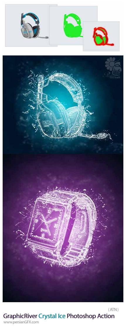 دانلود اکشن فتوشاپ ایجاد افکت یخ کریستالی بر روی تصاویر از گرافیک ریور - GraphicRiver Crystal Ice Photoshop Action