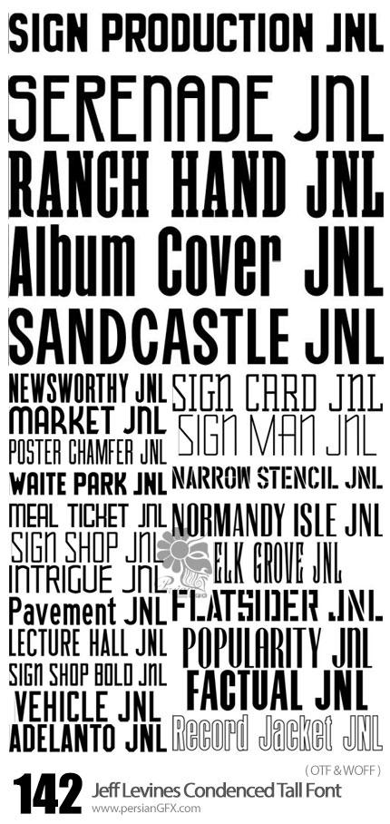 دانلود مجموعه فونت های انگلیسی متنوع - Jeff Levines Condenced Tall Font Collection 142 Fonts
