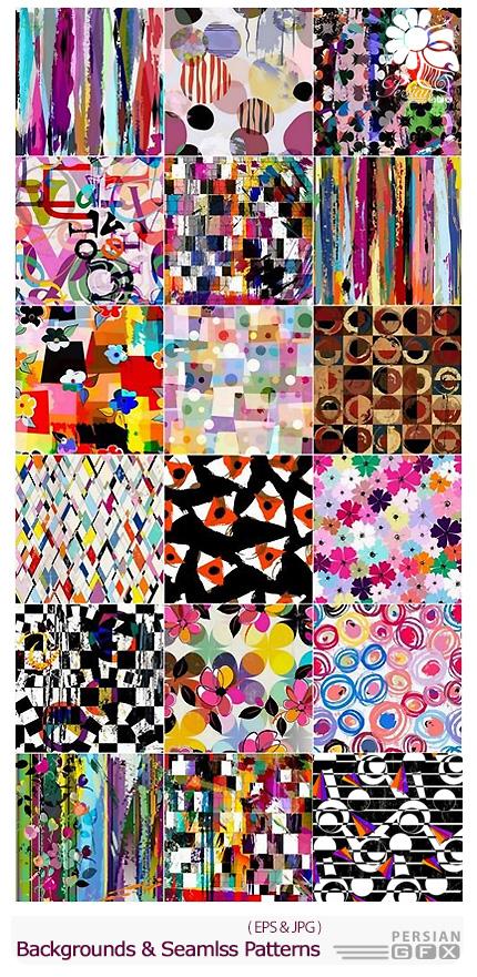 دانلود تصاویر وکتور پس زمینه با طرح های هندسی متنوع - Geometric Backgrounds And Seamless Patterns