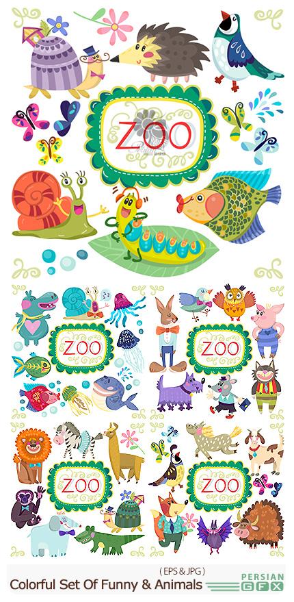 دانلود تصاویر وکتور حیوانات کارتونی بامزه - Vector Amazing Colorful Set Of Funny And Adorable Animals