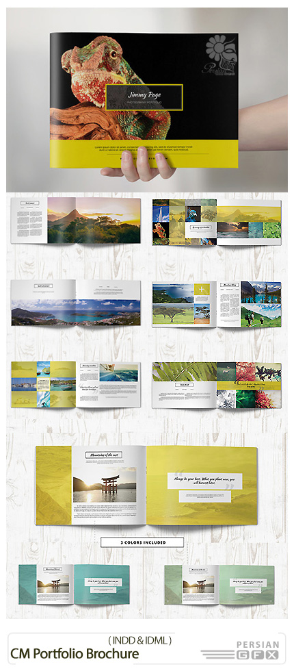 دانلود تصاویر لایه باز قالب ایندیزاین بروشور کتابی - CM Portfolio Brochure