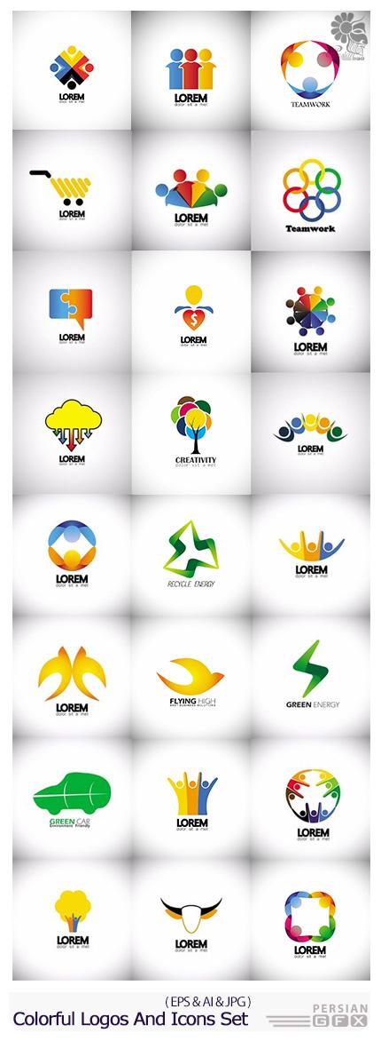 دانلود تصاویر وکتور آرم و لوگوی رنگارنگ - Stock Vector Colorful Logos And Icons Set