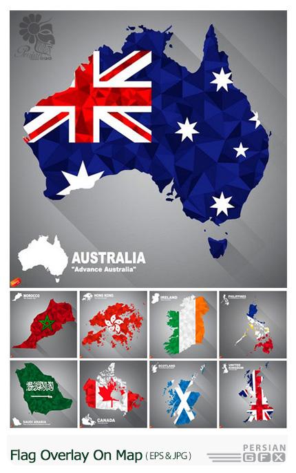 دانلود تصاویر وکتور نقشه کشورهای متنوع - Stock Vectors Flag Overlay On Map
