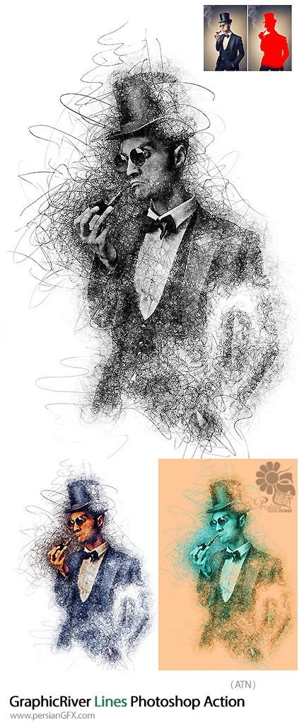 دانلود اکشن فتوشاپ تبدیل تصاویر به نقاشی خط خطی از گرافیک ریور - GraphicRiver Lines Photoshop Action