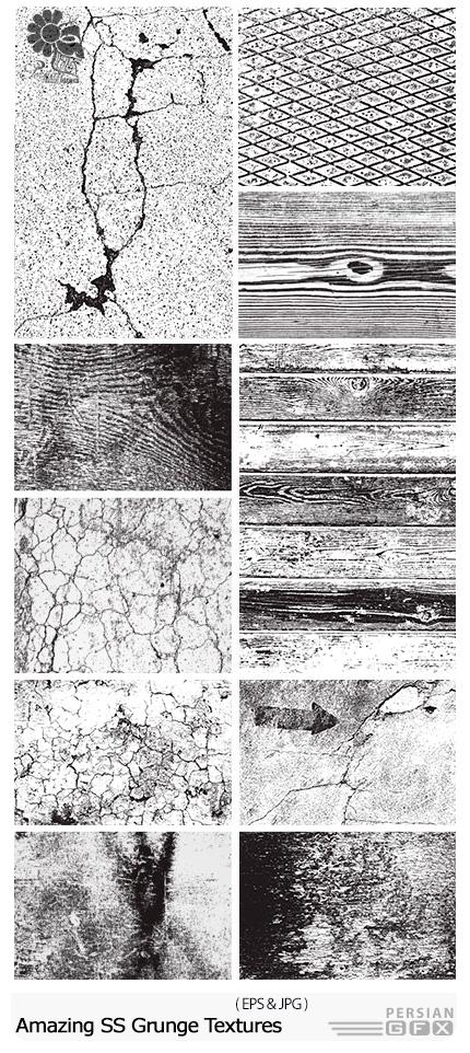 دانلود تصاویر وکتور تکسچر چوب سیاه و سفید از شاتر استوک - Amazing Shutterstock Grunge Textures