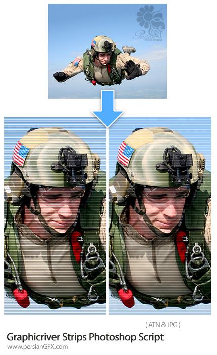 دانلود اکشن فتوشاپ ایجاد خطوط راه راه بر روی تصاویر از گرافیک ریور - Graphicriver Strips Photoshop Script